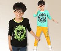 New 2014 children kids long sleeve t shirt spring autumn tops tee boys t shirt children outerwear kids clothes 2 color