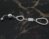 60pc/lot BJ00389 Free Shipping rhinestone penetrante sexy jewelry industrial belly bars