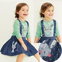 children girls spring clothing set. rabbit pattern girls tops + denim suspender dress. casual kid girl outfit