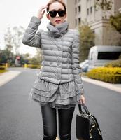 E-Unique LR11 New 2014 Winter Coat Women Cotton-Padded Jacket Parka Thick Lace Hem Stitching Down Coat