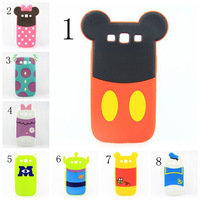 Free shipping 3D Cute Lovely Cartoon 3D Minnie Mickey Mouse silicone Skin cover case for Samsung Galaxy S3 SIII i9300