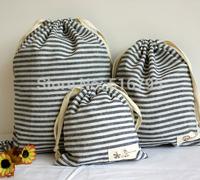 One set/3 PCS  Handmade linen drawstring  Storage bags  blue stripes tote  bag