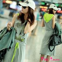 Women's summer dress casual dress grey cotton charm print dress with a hood vestidos femininos women clothing D438