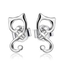 GNE0982 Fashion 925 Sterling Silver Earrings Cat Earrings 11.3*5.8mm For women Free Shipping Wholesale