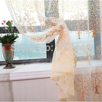 high quality pink yellow purple tree curtain yarn customize organza finished window screeing free shipping