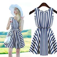 Circleof 2014 women's summer stripe slim waist expansion bottom medium  one-piece dress
