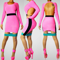Sexy for ban dage dr for ess multicolour slim one-piece dress sexy dress colors for dr ess