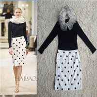 Free Shipping ! 2014 Autumn New European Women Bubble Knitting Elastic Long Sleeve Top + Polka Dot Skirt Sheath Skirt Suit