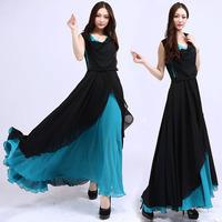 (WDR009)  2014 Patchwork Chiffon One-piece Dress Female Sleeveless Slim Bohemia Full Dress Beach Dress