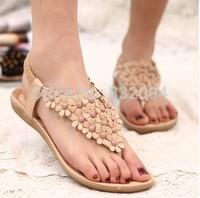Bohemia women's pinch flat shoes leuconostoc flip-flop sandals flower flat heel