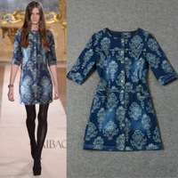 Free Shipping ! 2014 Autumn New Fashion Runway European Women's Half Sleeve Hacquard Mini Blue Denim Dresss Plus Size XXXL