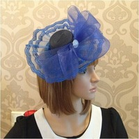 2014 New Designer Lace Patchwork Mesh Wedding Hats Candy Color Net Caps Wedding Party Hats Bridal Hats Free Shipping