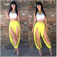 2014 sexy two-piece jumpsut vest hot slit pants fashion nightclub suits jumpsuits SJ1087