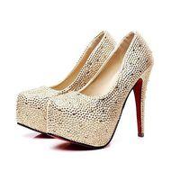 Super-pretty fashion 11cm high heels shoes woman pumps with rhinestones plus size EU 34-42