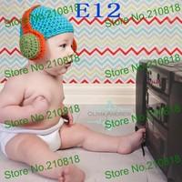 Crochet Baby Boy Hat, Headphone Beanie Orange/Blue Handmade Headphone Hat 10pcs/lot Free shipping