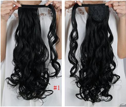 "Alibaba Express Freeshipping 24""(60cm) 120g #1Jet Black Wavy Curly Long Womens Clip In Hair ponytail(China (Mainland))"