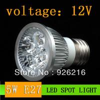 Wholesale (5pieces/lot)  LED E27 5W  AC/DC12V Spotlight  LED Bulb Light  warm white LED Bulb Light  Free Shipping