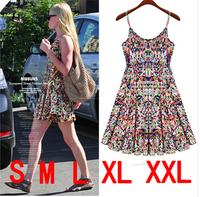Maxi Dresses 2014 Women Summer Strap Dresses Floral Backless Dress Casual Mini Plus Size Cute Beach Dress Free Shipping HY8326LQ