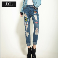 Born to be real not perfect JYL jeans rock street style mickey mouse cartoon label patchwork ripped distressed jeans for women