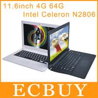 "11.6"" Ultrabook Laptops Dual core Notebook Intel Celeron N2806 1.6GHz Netbooks 4GB 64GB LED 1366*768 high resolution"