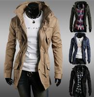 New 2014 Men Trench Winter Europe Jacket Outdoor Parkas Thicken Outwear Coats Causal Clothes Zip Mandarin Collar M  XL