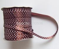 """Free shipping Dot Printed Ribbon 3/8""""(9mm) satin ribbon,brown color  Rib l dot Printed ribbons"""