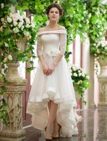 High Quality Off-Shoulder Long Sleeves Lace Hi-Lo Wedding Dresses Closed Back Tiered Graceful Garden Wedding Dress