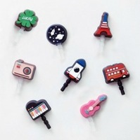 Free shipping cartoon style ear cap,earphone 3.5 mm dock dust plug dust cap for iPhone iPod cell phone,20pcs/lot,wholesale