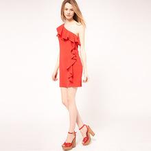 Women's Dress Free Shipping Chiffon Dress Inclined Shoulder A-Line Mini Ruffled One-Shoulder Dress Five Colours 3 Sizes 5W004(China (Mainland))