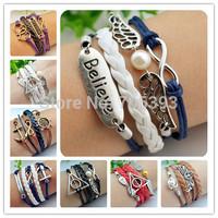 Braid Bracelet Multilayer Creative Personality Handmade Infinity Anchor Rudder Antique Silver Pendant Bracelet