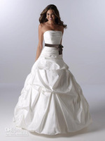 Free Shipping Strapless Wedding Dresses Fold Ruffle Satin Sash Pleat  Court Train