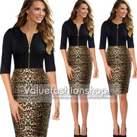 new sexy Pinup Leopard Animal Zip Colorblock Tunic Cocktail Party Pencil Dress