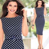 New &Hot Womens Polka Dot Elegant Ruched Party Bodycon Shift Pencil Midi Dress