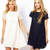 1pcs 2014 Summer new European and American CBRL Ladies Short Sleeve Lace Dress Bottoming Dress