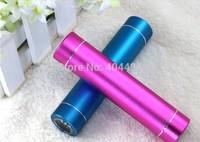 50pcs/lot usb 2600mah power bank cylinder design flashlight external mobile battery pack + usb cable + retail box