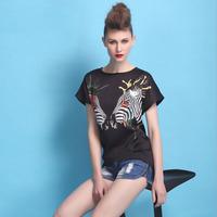 New 2014 Hot Sale Fashion Summer New  Print Slim short sleeve O-Neck Polyester T-Shirt Women  Free shipping TS0021