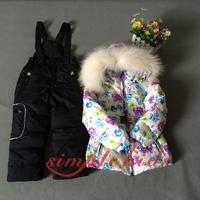 2014 For -20 degree winter children's clothing child baby kids down coat set with fox fur,children's ski suit
