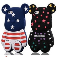 2014 3d Cute Cartoon Atmosphere The Stars Violent Bear Silicone Back Cover For Apple Iphone 5 5S 5G Bear Phone Case