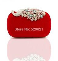 2014 Newest Women's Handbag Stock Evening Clutch Bag Corduroy Peacock Clutch Bag Wedding Bridal Pouch Day Clutches 6 Colors