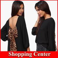 NEW 2014 European and American women's fashion leopard chiffon halter loose chiffon shirt dropshipping