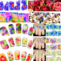50Sheets Temporary Tattoos Water Transfer Nail Sticker Chain Beauty Flower Wraps Foil Nail Art Decals Nail Tools XF1372-1421