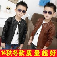 2014 children outerwear autumn Korean locomotive boys leather  jacket windbreaker children coat boy coat  kids jackets