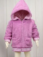 KNB winter baby outerwear full sleeve zipper hooded coat coral velour children's jackets autumn infant coats and jackets ACT114