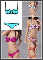 Fashion Women Sexy Triangle Swimsuit bikini string Swimwear Bikinis Set Top and Bottom Neoprene Bikini