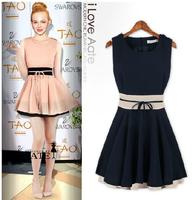 2014 European usa Hot sales flounced waist short dress Casual dress Fashion Summer Women's Chiffon Pinched Waist Women Clothes