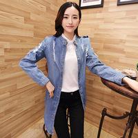 Free shipping Fast delivery Spring and Autumn long sleeve denim jacket coat jacket Slim female short paragraph long coat 9310