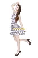 Girl Lady Chiffon Summer Sleeveless Black Floral Pattern Tunic Mini Short Waist Beach Dress Sundress FAS22