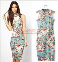 2014 new print dress casual fashion women 's Sexy Party summer dress women's Knee-Length dress