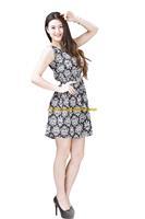 Girl Lady Chiffon Summer Sleeveless White Floral Tunic Mini Short Waist Beach Dress Sundress FAS8