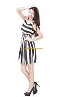 Girl Lady Chiffon Summer Sleeveless White Striped Tunic Mini Short Waist Beach Dress Sundress FAS10
